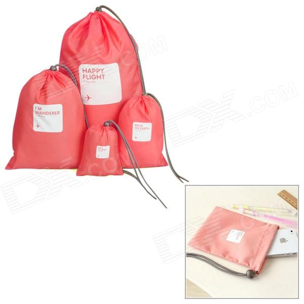 Drawing Strap Design Gadgets Storage Nylon Bag Pouch Set - Watermelon Red (4 PCS)