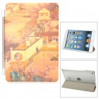 Acient Garden Pattern Protective PU Leather Screen Protector for iPad Mini - Orange + Multicolored