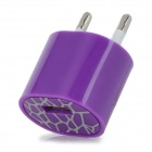 ABS USB EU 2-Round-pin Plug Power Charger Adapter for Iphone 5 - Purple