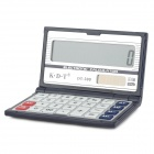 "K.D.T DT-300  Flip Style 3.4"" LCD 12-Digit Electronic Calculator - Silver + Deep Blue"