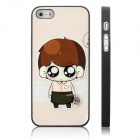 ENKAY Waiter Boy Pattern Protective Plastic Case for Iphone 5 - Black + Multicolor