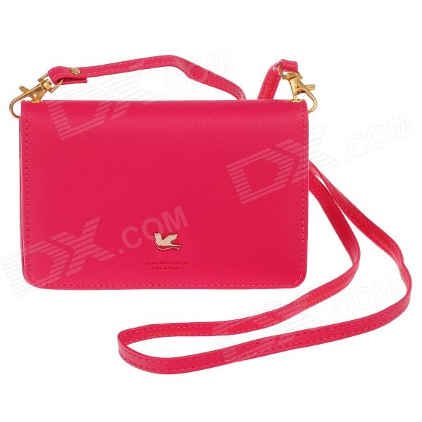 Fashion PU Wallet w/ Shoulder Strap / Hand Strap - Deep Pink