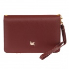 Fashion PU Wallet w/ Shoulder Strap / Hand Strap - Brown
