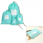 Drawing Strap Design Gadgets Storage Nylon Bag Pouch Set - Blue (4 PCS)