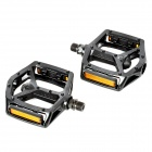WELLGO 249DU Replacement Bike Stainless Steel Foot Pedals w/ Reflector Strips - Black (2 PCS)