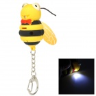 Cute Bee Style Plastic 1-LED White Light Sound Key Ring - Yellow + Black + Red (3 x AG10)
