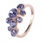 KCCHSTAR Elegant Women's 18K Zinc Alloy + Artificial Crystal Ring - Purple + Golden