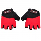 NUCKILY N2045 Outdoor Cycling Riding Half Finger Gloves with Protective Pad - Black + Red (Pair XL)