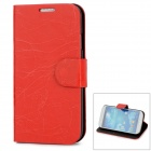 Lightning Pattern Protective PU +PC Flip-open Case w/ Stand for Samsung i9500 - Red + Black