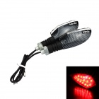Merdia 1W 50lm 15-LED Red Light Motorcycle Steering / Signal Lamp - Black + Silver  (12V / 2PCS)