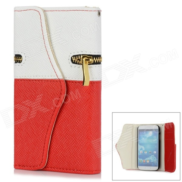 Protective PU Leather + Plastic Flip-open Case w/ Zipper Pocket for Samsung i9500 - White + Red protective flip open pu leather case for samsung galaxy s4 i9500 white