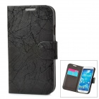 Lightning Pattern Protective PU Leather Case w/ Card Holder for Samsung Galaxy S4 i9500 - Black