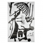 JM JM7035 the Lady with the Dog Pattern Decoration Wallpaper Sticker - Black (60 x 90cm)