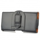 Protective PU Leather Case w/ Blet Clip for HTC One M7 - Black