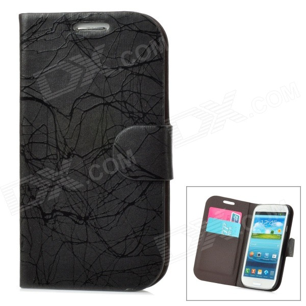 Lightning Pattern Protective PU Leather Case w/ Card Holder for Samsung Galaxy S3 i9300 - Black cool snake skin style protective pu leather case for samsung galaxy s3 i9300 brown