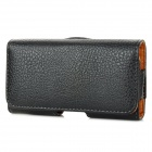 Lychee Pattern Protective PU Leather Case w/ Belt Clip for BlackBerry Q10 - Black