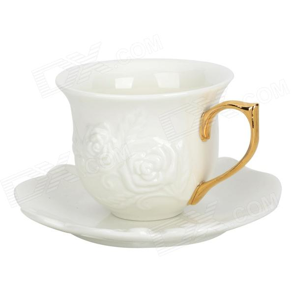 Embossment Rose Pattern Bone China Coffee Cup + Disc Set - White + Golden (200mL)