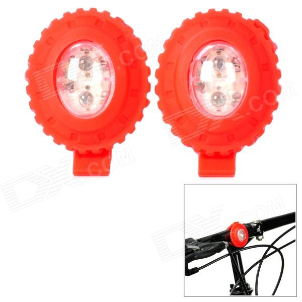 3-Mode 2-LED Red Light Bicycle Safety Light - Red (2 PCS)