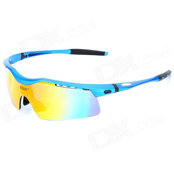 ESDY TG-A446 Outdoor Sports Cycling Revo Lens Goggles w/ Replacement Polarized Lens - Blue + Black Онлайн