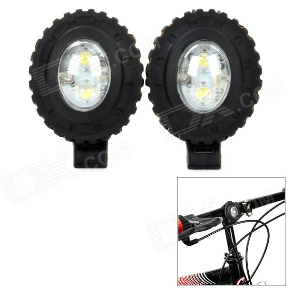 HJ015-2 Bike 20lm 3-Mode White 2-LED Safety Warning Light - Black (2 PCS) trustfire 3 led 3 mode 1100lm cool white light bike light grey purple 2 8 4 2v