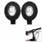 HJ015-2 Bike 20lm 3-Mode White 2-LED Safety Light - Black (2 PCS)