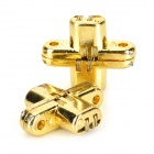 Zinc Alloy Cross Style Hidden Door Butt Hinge for Accordion Door - Golden (2 PCS)