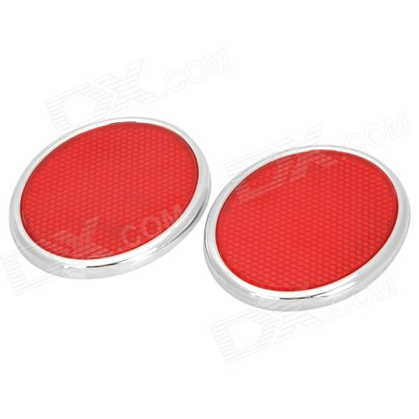 Stylish Oval Reflective Warning Sticker for Cars - Red + Silver (2 PCS)