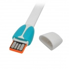 Multifunctional Strap w/ Micro USB Data Cable + Card Reader + USB Flash Disk - White + Blue (10cm)