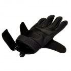 SW3031 Outdoor Mountaineering Windproof Super Fiber + Nylon Full-finger Gloves - Black (Pair / M)