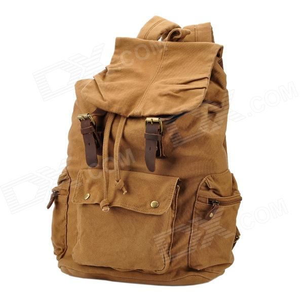 Casual Multi-functional Retro Canvas Backpack Bag - Khaki