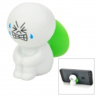 Cartoon Doll Style Suction Cup Plastic Stand Holder Support for iPhone / Cell Phone - White + Green