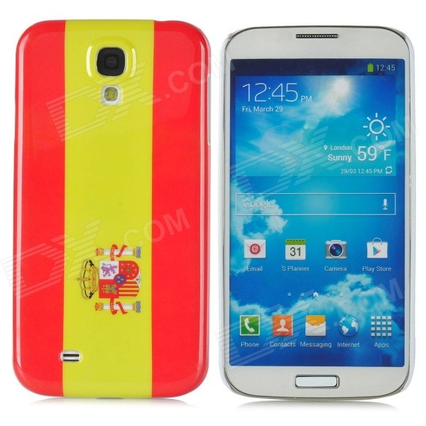 Flag of Spain Style Protective Plastic Back Case for Samsung Galaxy S4 i9500 - Red + Yellow water drop style protective plastic back case for samsung galaxy s4 i9500 yellow orange