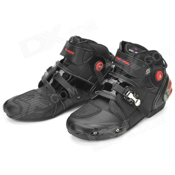 Quality Motorcycling Protective PU Leather Shoes - Black (Pair / Size 42)