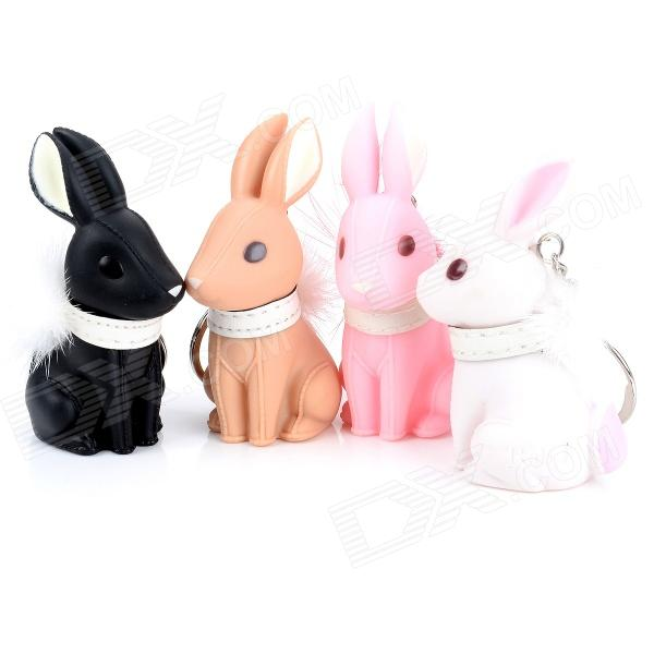Cute Vinyl Rabbit Wearing Fluffy Neck Band Style Keychain - Pink + White + Black + Ivory (4 PCS) kuroko s basketball kuroko no basuke mini pvc figure toys with keychain 9pcs set kbfg012