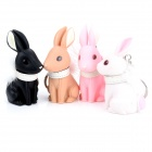 Cute Vinyl Rabbit Wearing Fluffy Neck Band Style Keychain - Pink + White + Black + Ivory (4 PCS)