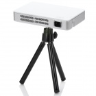Portable Mini HDMI Analog RGB DLP Projector w/ Tripod - White + Silver (US Plug / 100~240V)