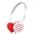 SALAR EM310i Fashion Headphone Headset  w/ Microphone - White + Red (3.5mm Plug / 120cm)