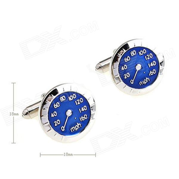 Circle Milestone Steel Varnish Baking Cufflinks for Men - Silvery + Blue (Pair)