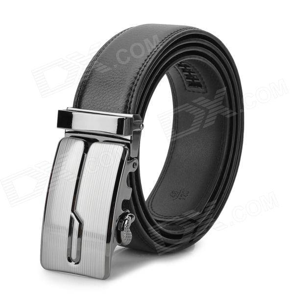 Cow Leather Belt w/ Zinc Alloy Buckle for Men - Black + Silver (125cm)