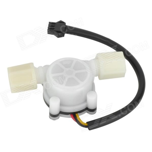 HS01 Precise PVC Water Flow Hall Sensor Flowmeter / Counter - White + Black 20 6mm impeller water flow sensor fluid flowmeter switch counter 1 30l min meter