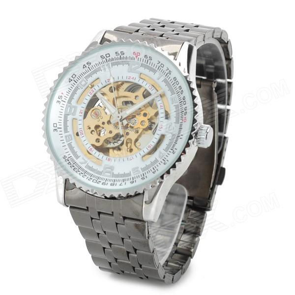 NBW0HE6767 Men's Stainless Steel Skeleton Mechanical Self-winding Analog Wrist Watch - Grey + White