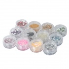 Nail Art Sparkly Acrylic Decoration - Multicolored (12 PCS)