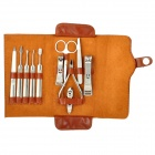 11-in-1 Portable Personal Care Stainless Steel Beauty Manicure Tools Set w/ PU Leather Case - Brown