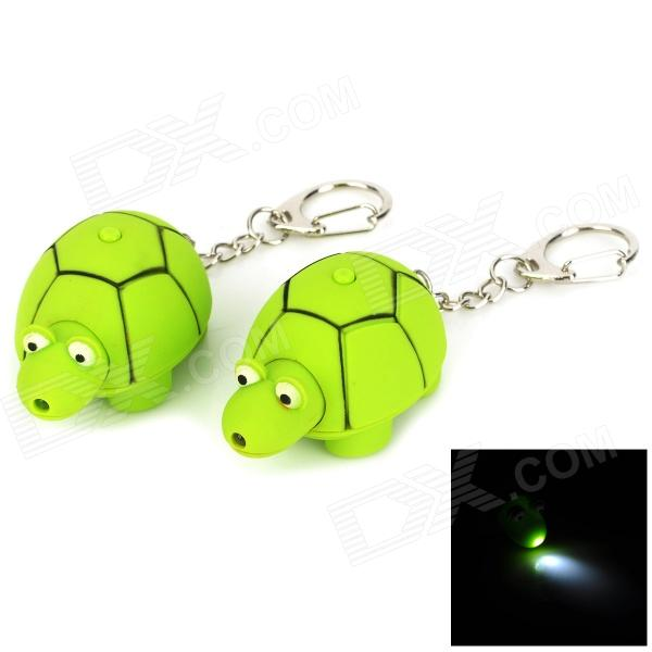 WG-2012 Creative Tortoise Style LED White Flashlight Keychain - Green (2 PCS / 3 x LR41) недорого
