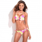 RELLECIGA 033131017-700S Floral Blooming Pattern Sexy 3/4 Cup Push-Up Padded Bikini Swimsuit