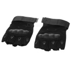 SW3033 Outdoor Tactical Carbon Fiber + Sheep Skin Half-finger Gloves - Black (Pair / Size M)