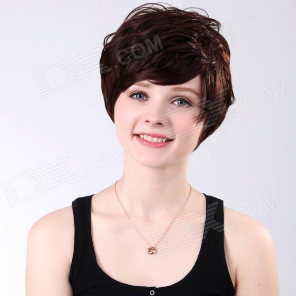 sc018-m433 Fashion Fluffy Women's Short Hair Wig - Chestnut genco queen