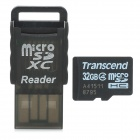Transcend Micro SDHC / TF Memory Card w/ USB Card Reader - Black + White (32GB / Class 4)