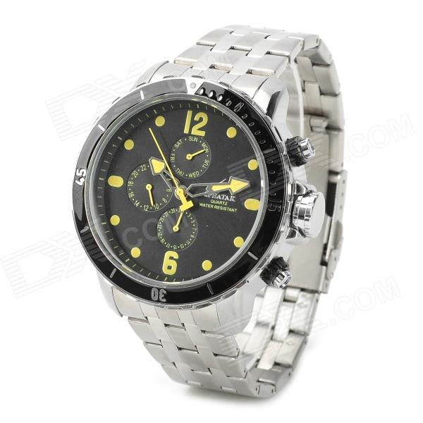 SPEATAK SP9038G Men's Stainless Steel Quartz Analog Wrist Watch - Silver + Black + Yellow weide casual genuine watch luxury brand quartz sport watches stainless steel analog men larm clock relogio masculino schocker
