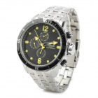 SPEATAK SP9038G Men's Stainless Steel Quartz Analog Wrist Watch - Silver + Black + Yellow